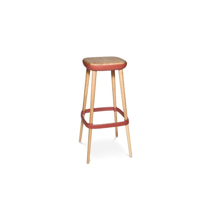 Barhocker W-2020 stool in eiche geölt - Sitzschale in rot